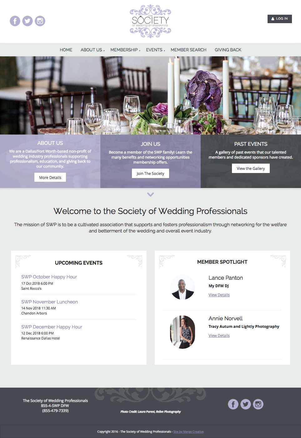 Society of Wedding Professionals website - Wild Apricot
